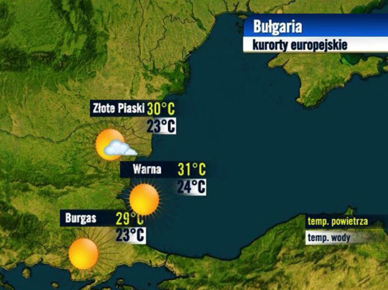 Prognoza pogody dla kurortów w Bułgarii, 24.08