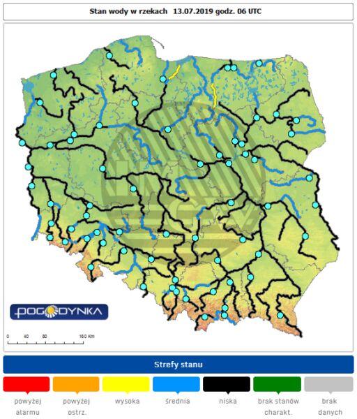 Stan wody w rzekach 13.07.19 o godz. 6 (IMGW)