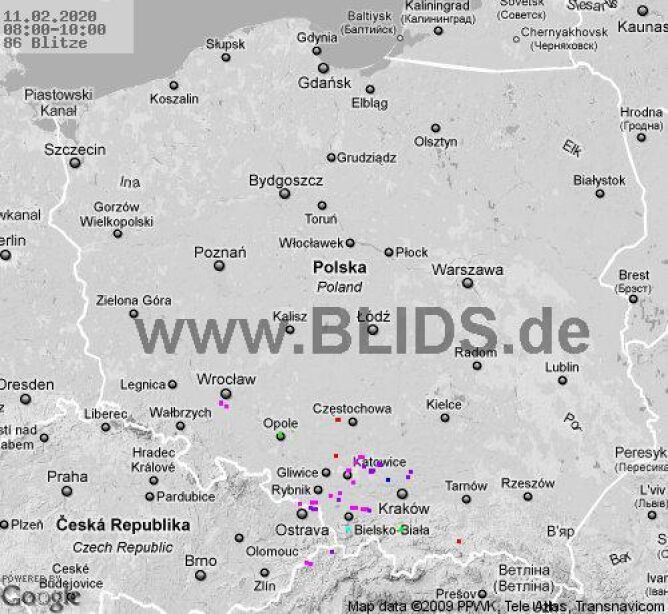 Lokalizacja burz w Polsce (blids.de)