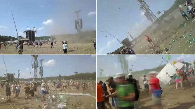 Wirujący lej pyłu i kurzu. <br />Diabełek na Pol'and'Rock Festival